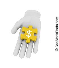 raadsel, houden, symbool., gele, hand, achtergrond., illustratie, menselijk, witte , 3d