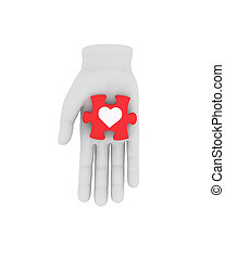 raadsel, houden, symbool., illustratie, hand, achtergrond., menselijk, wit rood, 3d
