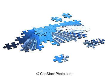 raadsel, jigsaw, 3d, de bouw.