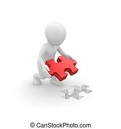 raadsel, jigsaw, 3d, menselijk, stuk