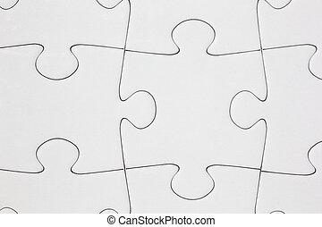 raadsel, jigsaw, close-up, leeg
