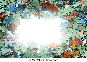 raadsel, jigsaw stukken