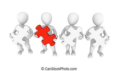 raadsel, jigsaw, teamwork, 3d, mensen
