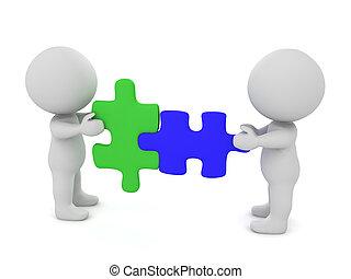 raadsel, karakter, twee stukken, het verbinden, 3d
