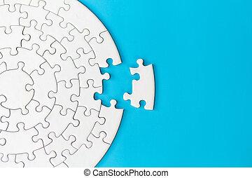 raadsel, klus, jigsaw, handel concept, stukken, piece., missende , eind-, vervolledigen, missing., stuk
