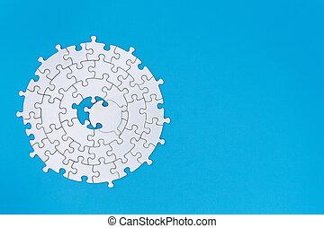raadsel, kopie, missende , ruimte, vervolledigen, stukken, task., eind-, witte , jigsaw, achtergrond, blauwe , piece.