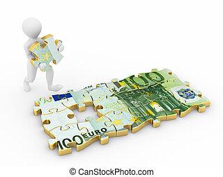raadsel, mannen, onderdelen, eurobiljet