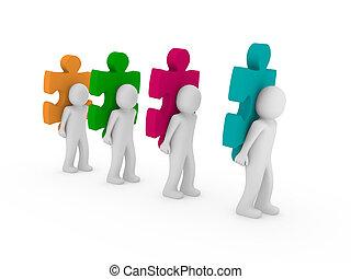 raadsel, mannen, teamwork, 3d