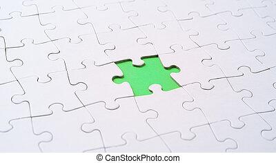 raadsel, missende , jigsaw, lege, stuk, witte