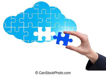 raadsel, wolk, jigsaw, concept, gegevensverwerking