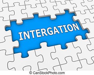 raadsel, word., -, integratie, witte , 3d