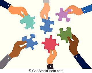 raadsels, jigsaw, concept, teamwork, zakelijk