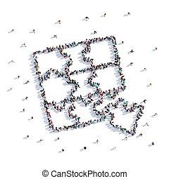 raadsels, vorm, mensen, rendering., hand, kinderen, partij, tekening, 3d