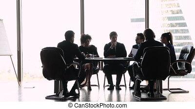 raadzaal, zakenkantoor, het onderhandelen, internationaal, tafel, mensen zittende