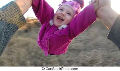 radvormigen, weinig; niet zo(veel), vertragen, dochter, buiten, motion., persoon, zijn, man, aanzicht, eerst