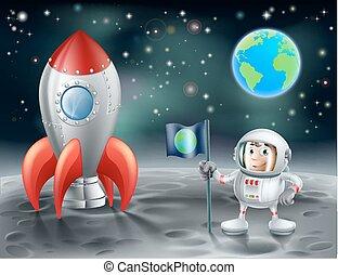 raket, ruimte, ouderwetse , maan, ruimtevaarder, spotprent