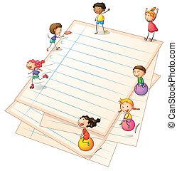 randjes, papier, kinderen spelende