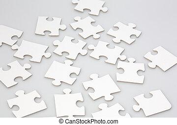 randomly, geplaatste, raadsel, jigsaw stukken