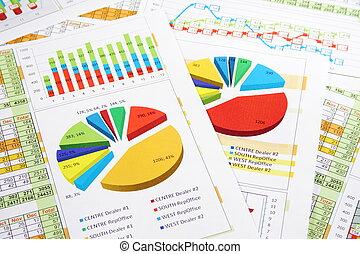 rapport, grafieken, cijfers, verkoopgrafieken