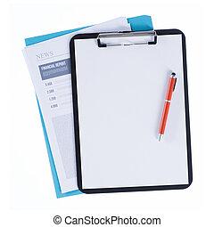 rapport, klembord, financieel