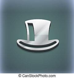 raster, cilinder, ruimte, tekst, moderne, symbool., style., modieus, ontwerp, 3d, hoedje, jouw, pictogram
