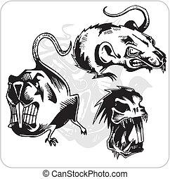 rat., agressief, vector, -, set