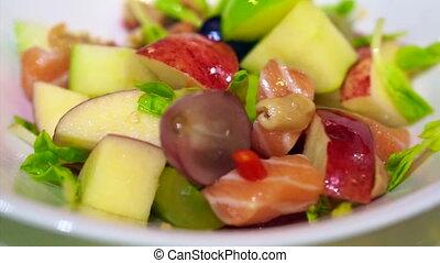 rauwe, fruit, salmon, slaatje, sashimi