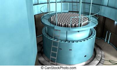 reactor, macht, nucleair, interieur, overzicht., plant