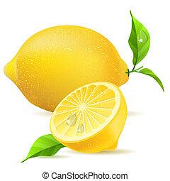 realistisch, bladeren, citroen, helft