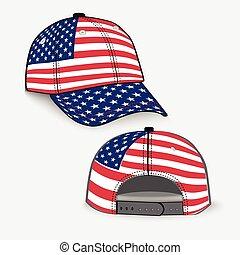 realistisch, usa, honkbal hoofddeksel, vlag