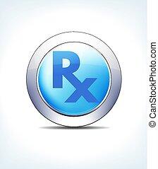 recept, gezondheidszorg, symbool, bleek, knoop, &, pictogram, recept, farmaceutisch, rx, blauwe