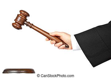 rechter, aankondigen, vonnis