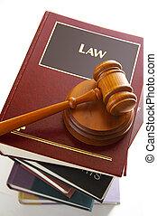 rechters, wettelijk, boekjes , stapel, gavel, wet