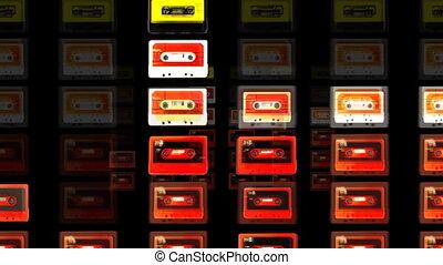 reepen, stoppen, verzameling, motie, cassette, koel