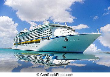 reflecteren, scheeps , bovenkant, cruise