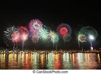 reflecteren, water, vuurwerk, zee