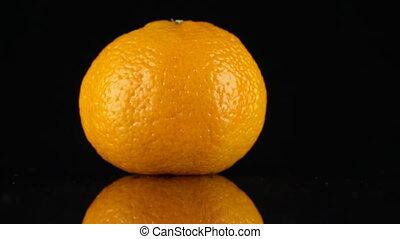 reflectie, ronddraaien, achtergrond., black , mandarijn, zijn