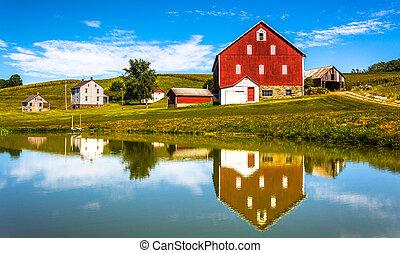 reflectie, woning, pennsylvania., york, graafschap, kleine, landelijk, vijver, schuur