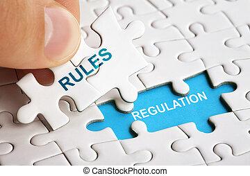 regels, raadsel, regulations., woord, witte