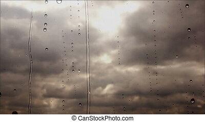 regenachtig, wolken, vliegen, op, vasten, door, storm, venster, afsluiten, aanzicht