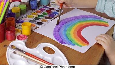 regenboog kleurde, jonge, thuis, meisje, tekening