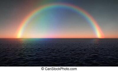 regenboog, oceaan, (1028), golven