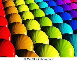 regenboog, paraplu's, hues