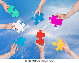 regenboog, puzzelstukjes, handen, mensen