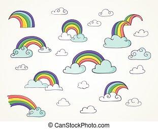 regenboog, set, schattig, -, hand, vector, illustraties, getrokken