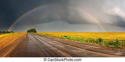 regenboog, straat, op