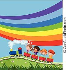 regenboog, trein, infront, kinderen