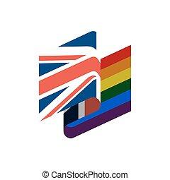 regenboog, verenigd, vrolijk, flag., symbool, brits, verdraagzaam, lgbt, kingdom., meldingsbord