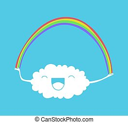 regenboog, wolk, illustratie