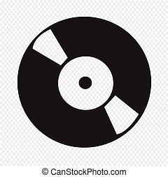 registreren, vinyl, retro, pictogram